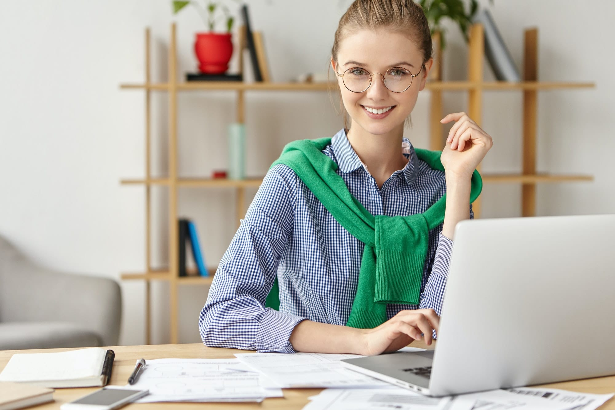 successful freelancer works at home remotely uses modern gadgets and free wifi connection professi